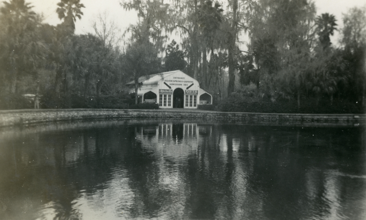 Entrance to Silver Springs Gardens shown during vacation of the Hall family from Michigan.