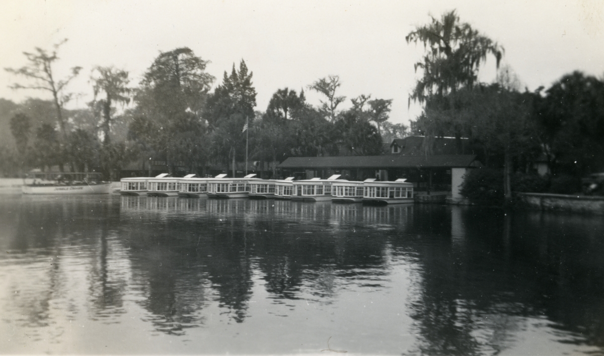 Glass bottom boats at Silver Springs shown during vacation of the Hall family from Michigan.