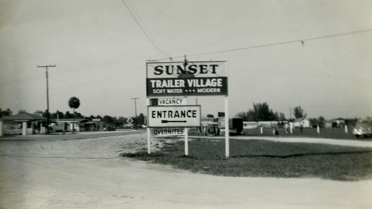 Entrance to Sunset Trailer Village shown during Central Florida vacation of the Hall family from Michigan.
