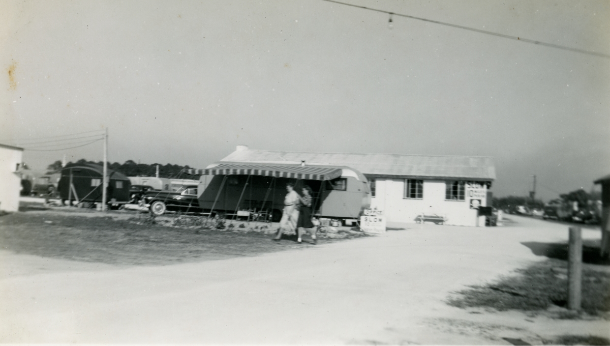 Trailer camp office and grounds shown during Central Florida vacation of the Hall family from Michigan.