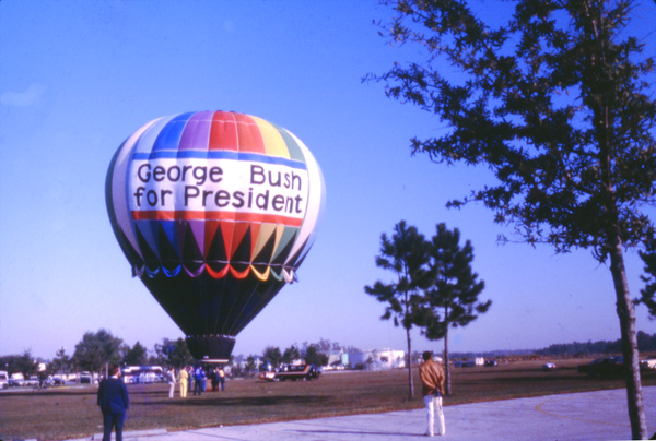 Hot air balloon in support of George Bush for the Republican presidential nomination.