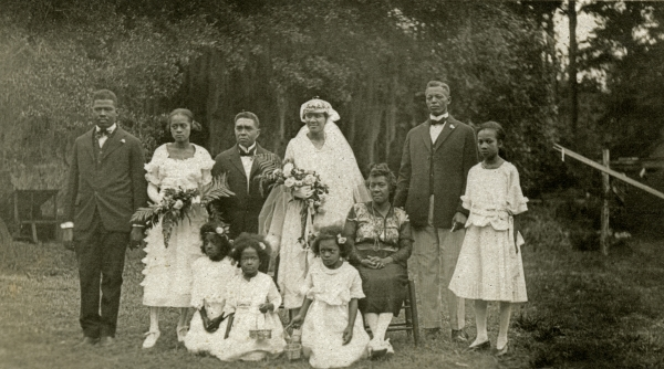 Portrait of an African American wedding party in Hibernia.
