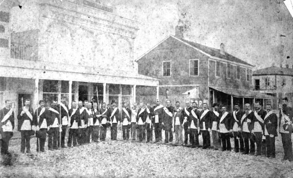 Masons posing in the street - Apalachicola, Florida.