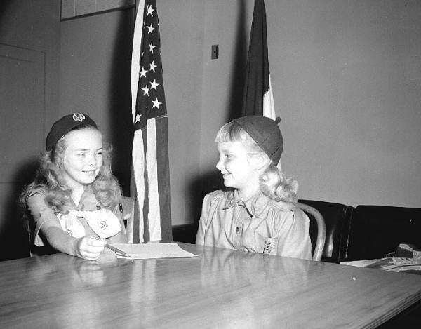 Girl scouts: Carlene Taylor and Judy Bowen.
