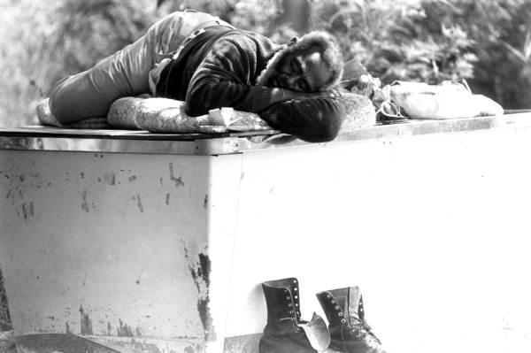 Homeless man asleep in Tallahassee, Florida.