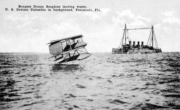 Burgess Dunne seaplane taking-off.