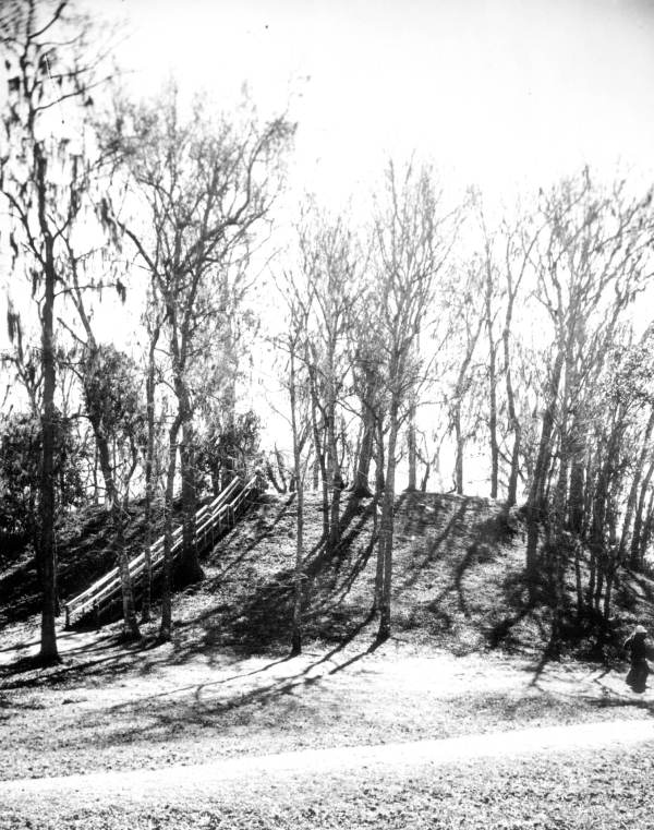 View of temple mound and stairs at Lake Jackson Mounds State Park :Tallahassee, Florida.