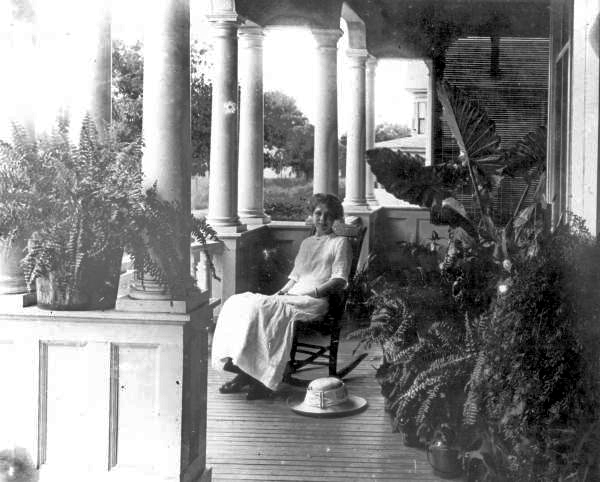 Mary Hays on porch of Hays' home - Tallahassee, Florida.