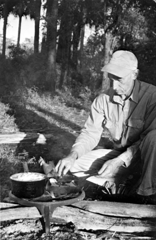 George L. Espenlaub cooking swamp cabbage.