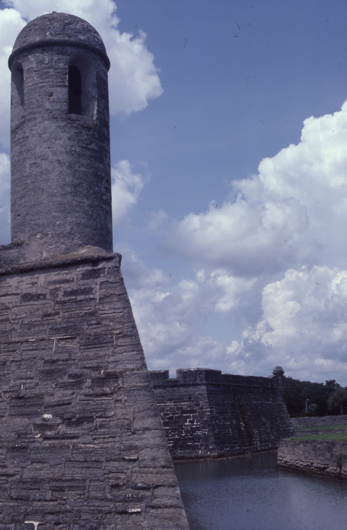 Watchtower, wall and moat at Castillo de San Marcos - Saint Augustine, Florida.