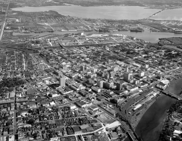 Aerial view showing a section of Tampa - Hillsborough County, Florida.