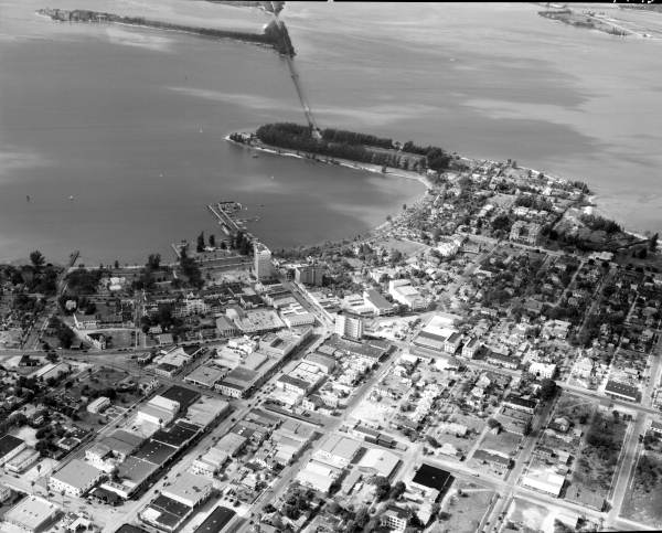 Aerial view showing a section of the city - Sarasota, Florida.