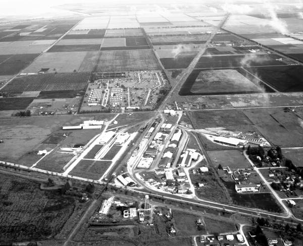 Aerial view showing a section of town - Belle Glade, Florida.