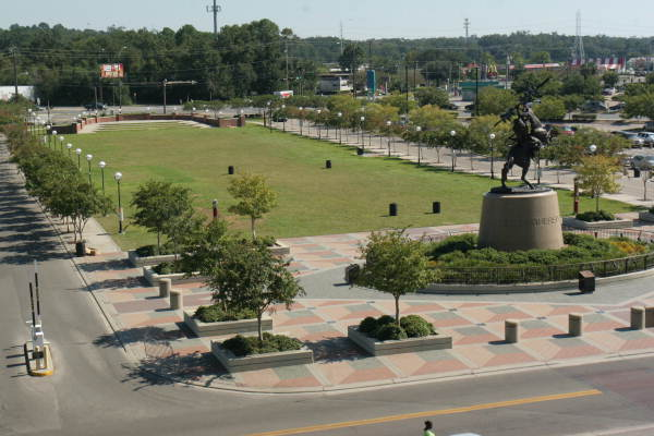 "Bird's eye view showing bronze sculpture ""Unconquered"" by Fritz White at the FSU Doak Campbell football stadium - Tallahassee, Florida."