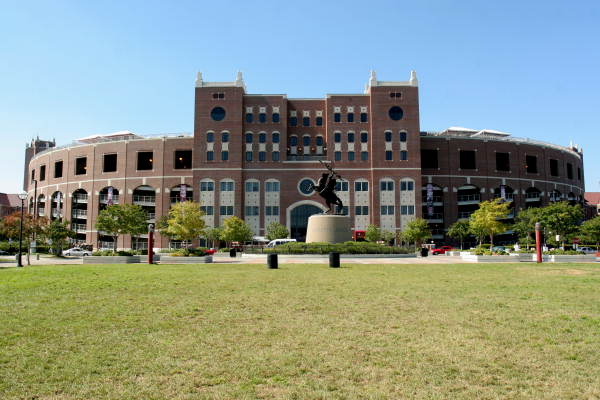 View of the FSU Doak Campbell football stadium as seen from Langford Green - Tallahassee, Florida.