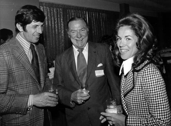 Actor Leonard Nimoy, left, chatting with people at the Sheraton Yankee Clipper Hotel - Fort Lauderdale, Florida.