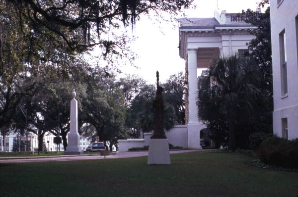 View showing a Statue of Liberty replica in front of the Capitol - Tallahassee, Florida.