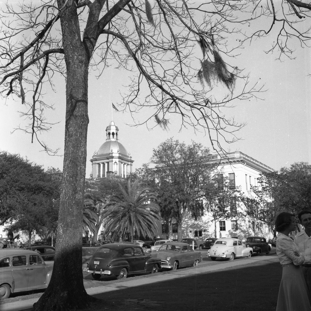 Two girls across the street from the old Florida State Capitol building.