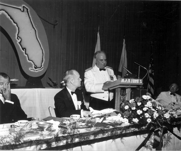 U.S. Senator George Smathers and Governor Farris Bryant listening to General Lance at 4th annual Governor's Military Appreciation Dinner.