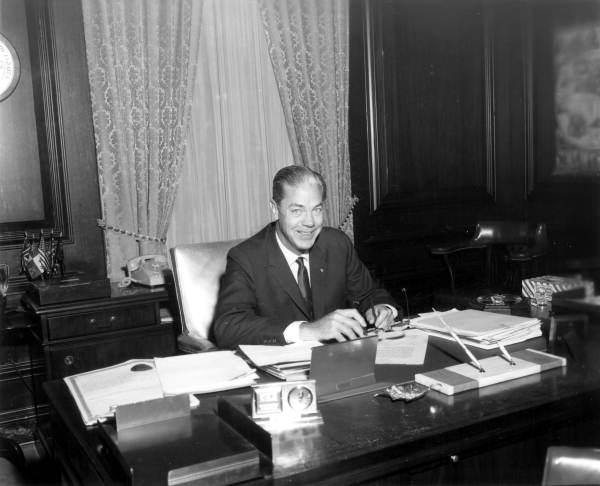 Florida's 35th Governor Haydon Burns signing proclamation at his office - Tallahassee, Florida.