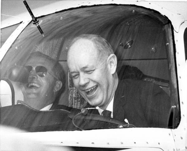 Governor-elect Farris Bryant at controls of plane during his arrival in Tallahassee.