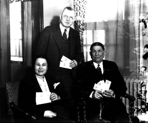 Governor Cone, his wife and friend with Democrat dinner tickets - Jacksonville, Florida.