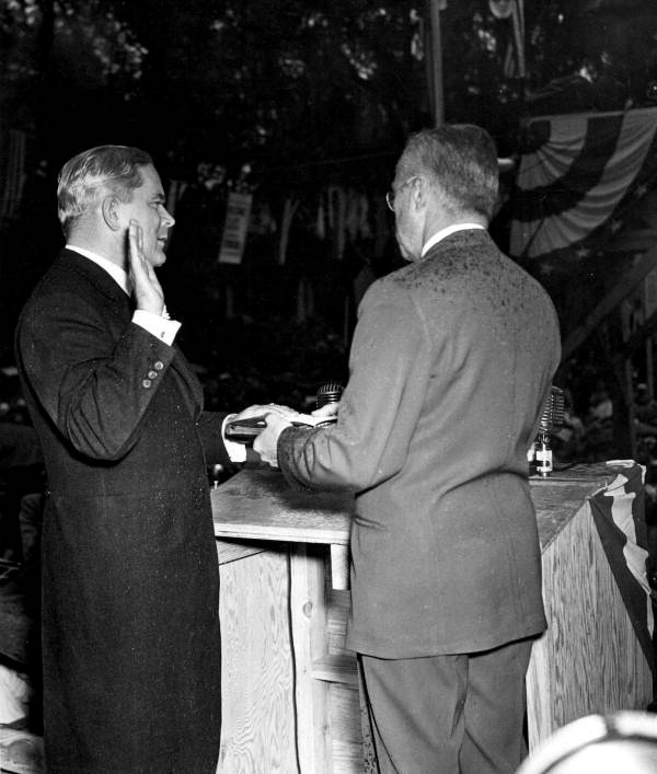 Fuller Warren taking the oath of office of the Governor - Tallahassee, Florida.