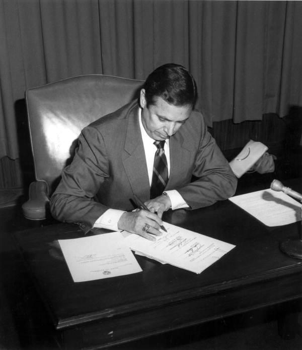 Governor Bob Martinez signing a bill - Tallahassee, Florida.
