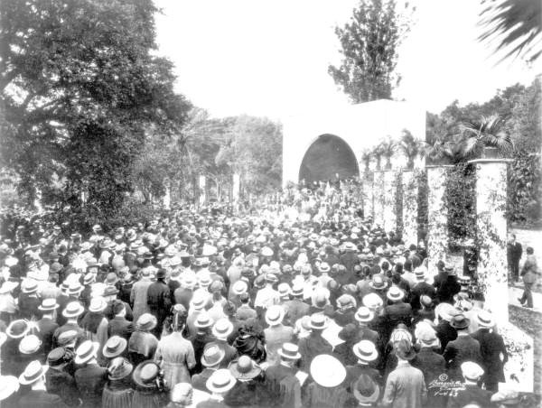 Crowds enjoying a mid-winter band concert in the park - Tampa, Florida.