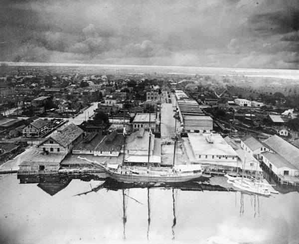 Bird's eye view of a three-masted schooner on the waterfront - Tampa, Florida.