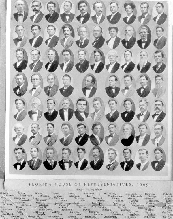 Members of the 1909 House of Representatives - Tallahassee, Florida.