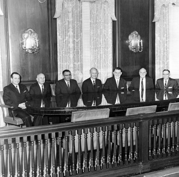 Florida's 34th Governor Farris Bryant and his cabinet members at the Capitol office - Tallahassee, Florida.