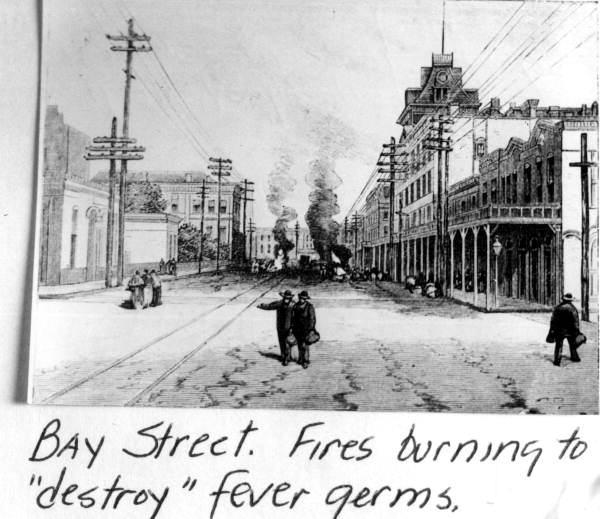 Print showing fires on Bay street to kill yellow fever germs - Jacksonville, Florida.