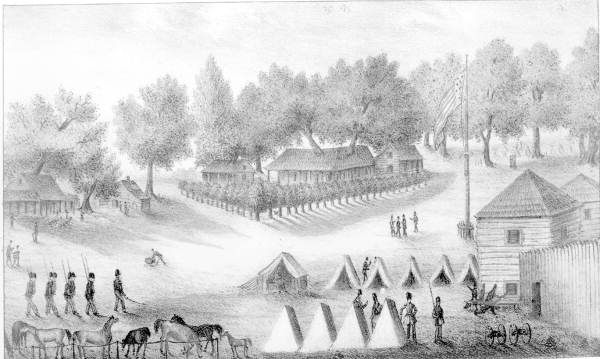 Barracks and tents at Fort Brooke in Tampa Bay - Tampa, Florida.