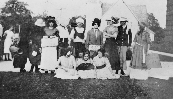 Andrew D. Gwynne Institute students dressed as suffragettes - Fort Myers, Florida.