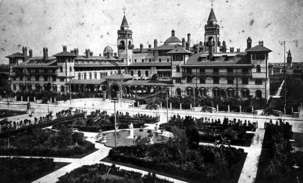 Ponce de Leon hotel viewed from the Alcazar hotel - Saint Augustine, Florida.