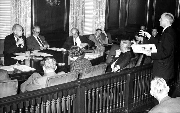 Governor Farris Bryant and his cabinet members listening to W. Shannon Linning in a meeting at the Capitol office - Tallahassee, Florida.