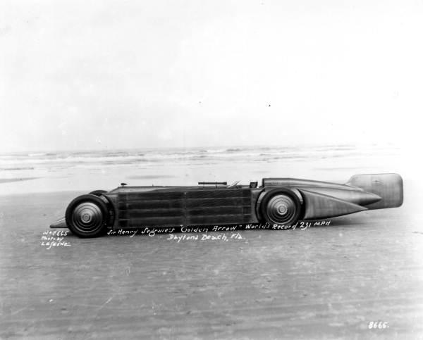 Sir Henry Segrave sitting in his Golden Arrow - Daytona Beach, Florida.