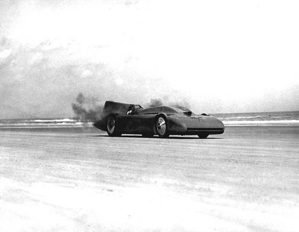 "Sir Malcolm Campbell in ""Bluebird"" racing automobile - Daytona Beach, Florida"