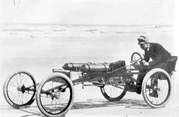 Ransom E. Olds in the Olds Pirate racing car - Ormond Beach, Florida.