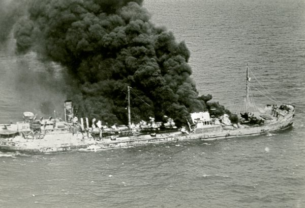 """Tanker """"Gulfland"""" burning in the water - Hobe Sound, Florida."""
