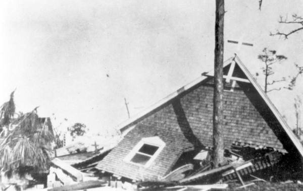 Saint Andrew's Episcopal Church after the 1928 hurricane - Lake Worth, Florida.