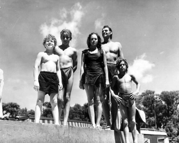 "Some members of the cast for the film ""Tarzan's Secret Treasure"" - Wakulla Springs, Florida."