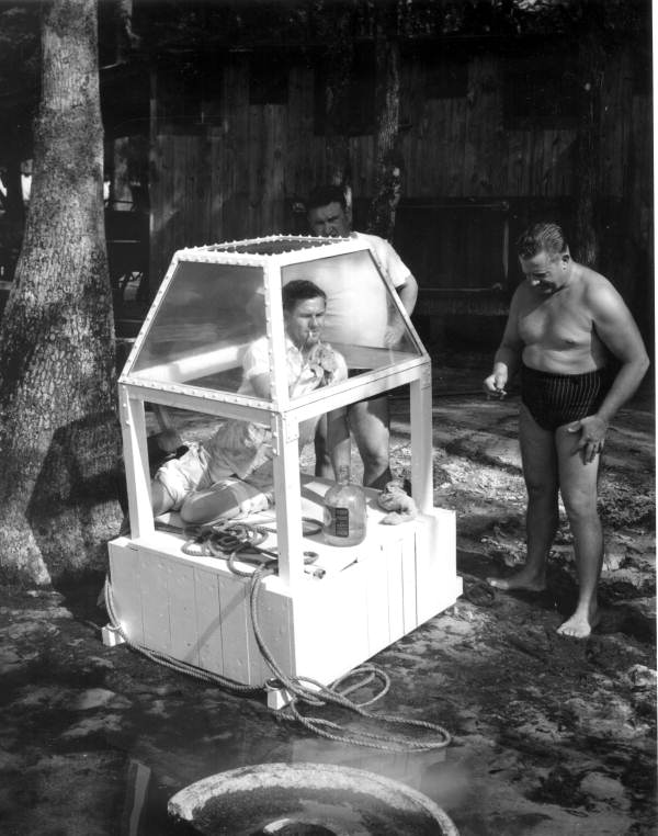 Construction of underwater air trap - Wakulla Springs, Florida.