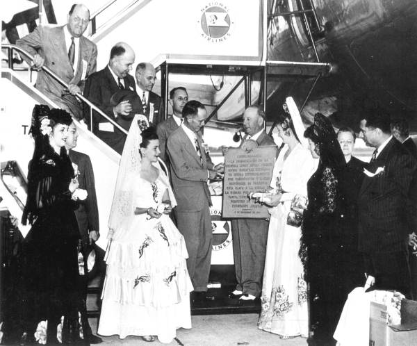 Inauguration of National Airlines international service.