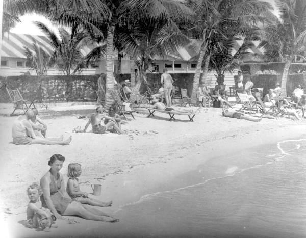 Beach-goers at the Casa Marina Hotel - Key West, Florida.