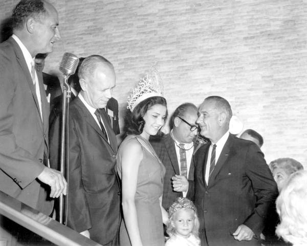 Miss Universe meeting Vice President Lyndon B. Johnson at Governor's Conference