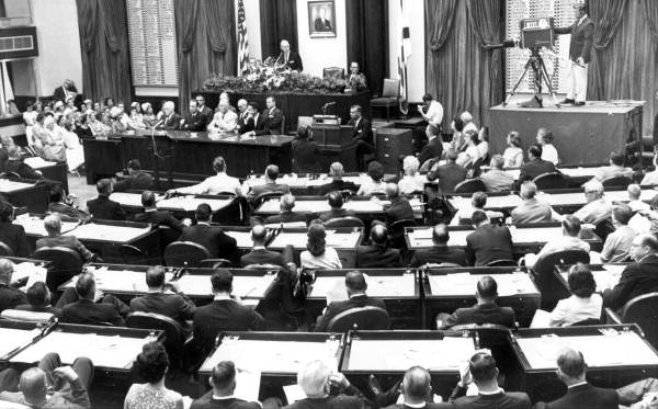 Governor Farris Bryant speaking at a special joint session of the Florida Legislature - Tallahassee, Florida.