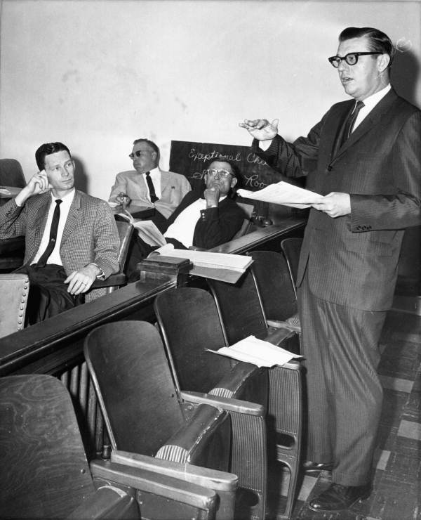 Representative Frederick Karl talking to a House highways committee about a delayed investigation - Tallahassee, Florida.