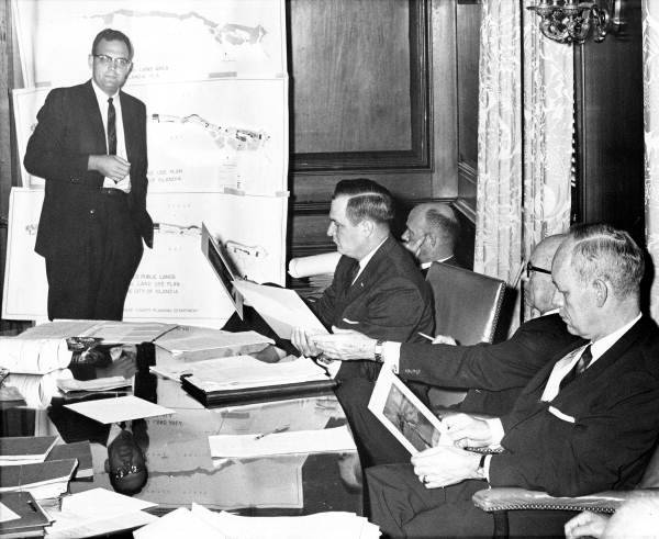 Governor Farris Bryant and his cabinet members listening to Reginald Walters in a meeting at Capitol office - Tallahassee, Florida.